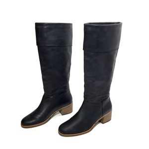 UGG Black Leather Knee High Riding Boots